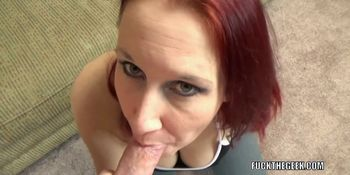 Busty MILF Lia Shayde is on her knees and sucking dick