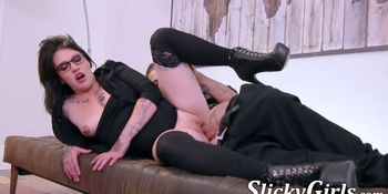 Inked French cutie fucked hard until big facial