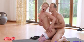 Yoga babe rimmed before doggy style by teacher