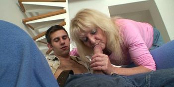 Blonde mother-in-law rides his thick meat