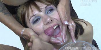 Premium Bukkake Michelle swallows 71 huge mouthful cum shots