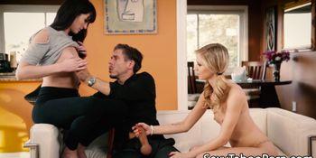 Grogeous taboo girlfriend tricks guy into ffm
