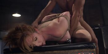 BDSM sub tit fucks doms cock before anal sex