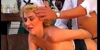 Stockinged slut banged hard in retro video