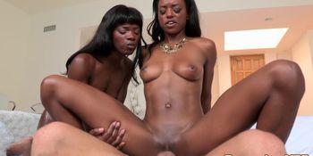 Ebony chicks share big load of cum