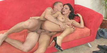 Hot brunette wife takes fat cock