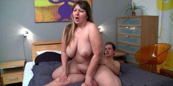 Cock-wanted BBW seduces shy man