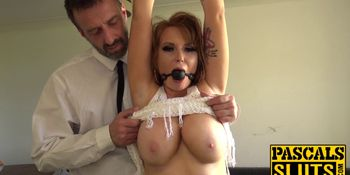 British redhead subslut dicked hard by rough maledom