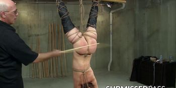Plump temptress toyed with while hanging in chains
