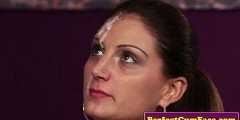 UK gal sucks white then black cock for facial