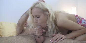 Blue-eyed blonde deepthroats and gets ass-fucked