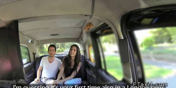Spanish couple fucking in fake taxi