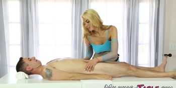 Massage slut sucks dong