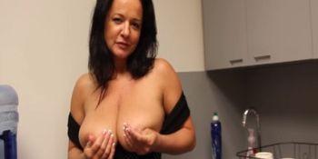 Handjob mature titty fucking in POV scene
