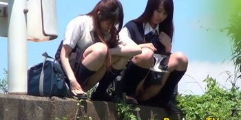 Asian teens in uniform spied on pissing