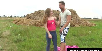 Cute teen Alessadra gets pussy fucked outdoors