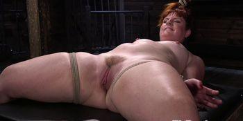 Bondage redhead sub whipped and pussytoyed