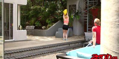 Strawberry blonde teen cheerleader takes a big size creampie